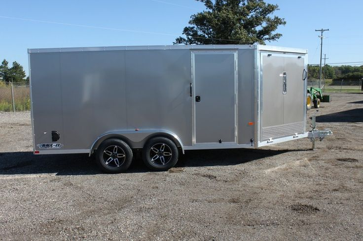 2015 Enclosed All Aluminum   7 x 18 2 Place Sled Trailer for Sale