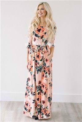 Cute Peach Spring Floral Maxi Modest Dress, Church Dresses, dresses for church, modest bridesmaids dresses, best modest boutique, modest clothes, affordable modest clothes, cute modest dresses, maxi dress, floral dress, dresses with sleeves
