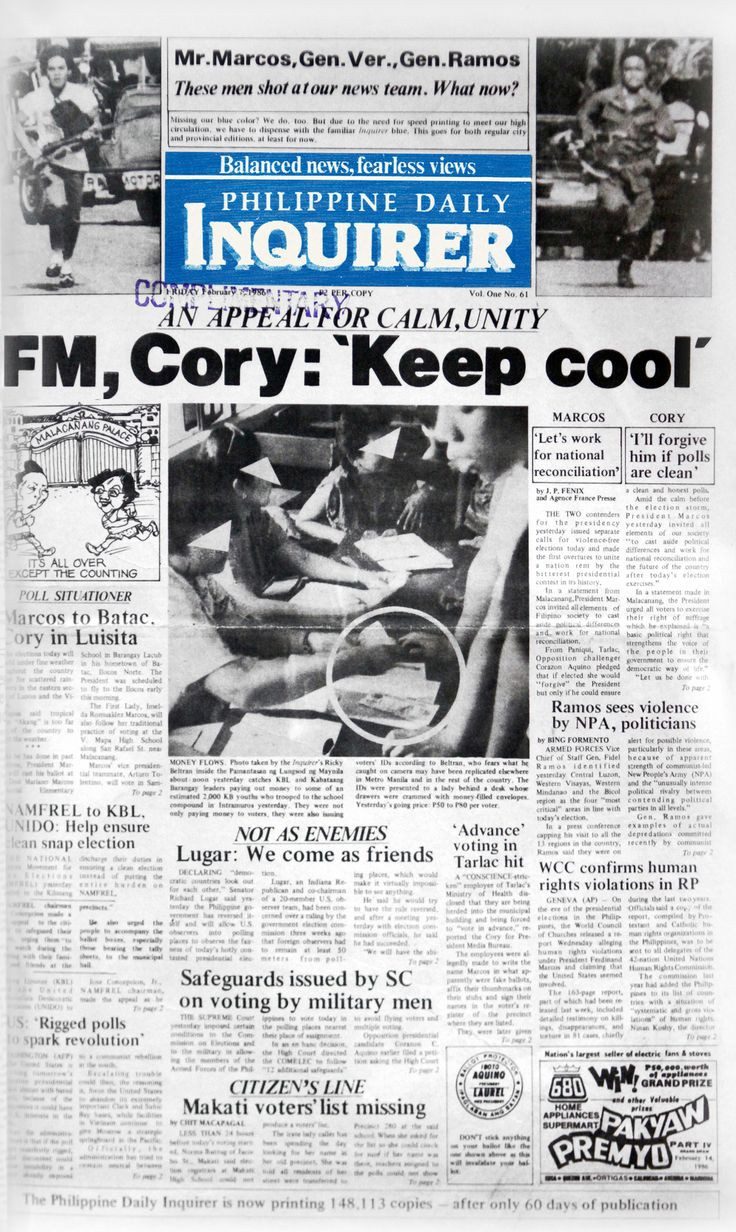 Feb. 7, 1986. A snap election pits President Ferdinand Marcos against housewife Corazon 'Cory' Aquino, widow of the martyred opposition leader, Benigno 'Ninoy' Aquino, Jr.