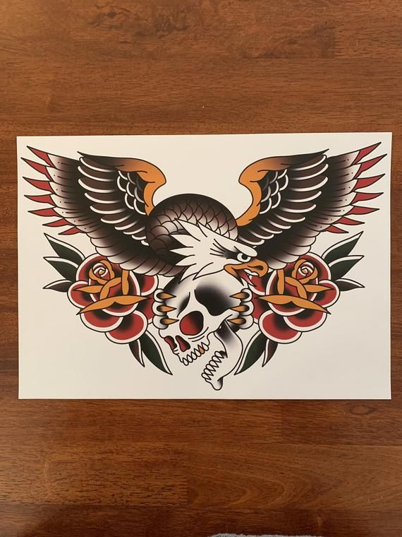 Traditional Eagle Chest Tattoo : traditional, eagle, chest, tattoo, Traditional, Eagle, Tattoo, Print, Tattoo,, School, Designs