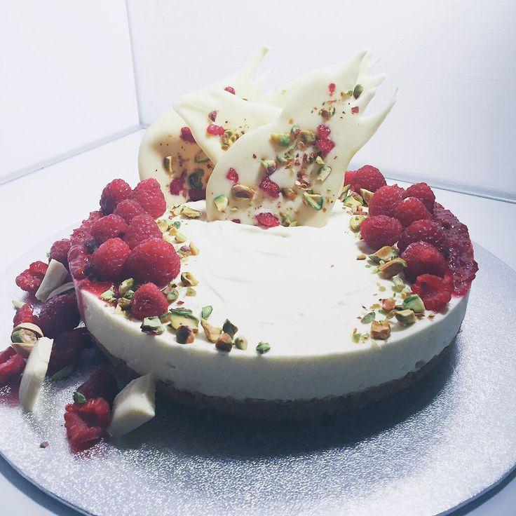 Raspberry x white chocolate no-bake cheesecake w/ pistachio shards.