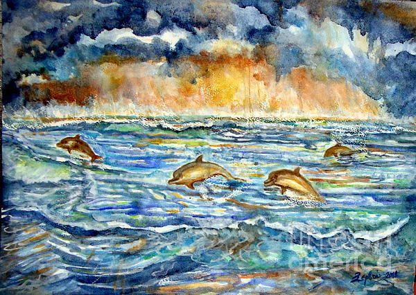 Dolphins watercolors original