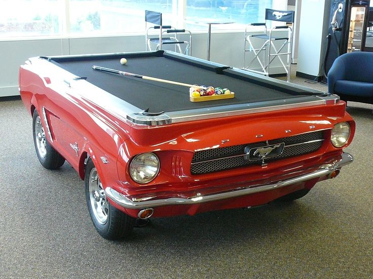 Just look at your BRAND NEW Collector's Edition 1965 Ford Mustang Pool table! This is the Ford Car-Shaped Pool Table as seen on American Idol, The Price is Right, Auction Hunters, and more! Click to learn more and shop this car pool tables and other makes and models!