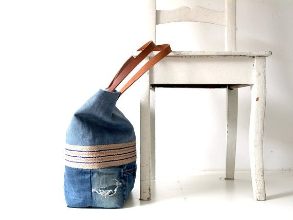26044639fddd Denim bag with leather straps and stonewashed blue linen