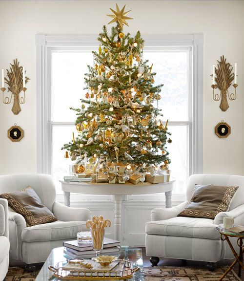 Eddie Ross's Christmas Decorations - New England Christmas Decorations - Country Living - Gold and green Christmas tree