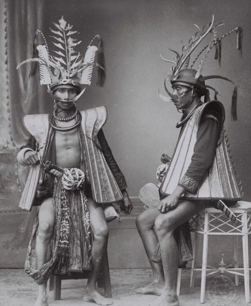 Nias Warriors between 1892-1922. Nias is a small islet in Indonesia, off the coast of Sumatra.