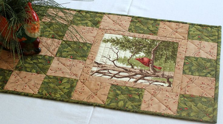 Christmas Table Runner, Quilted Cardinal Table Runner, Green Table Topper, Holly Leaves, Pine Sprigs, Winter Table Quilt, Quiltsy Handmade by RedNeedleQuilts on Etsy