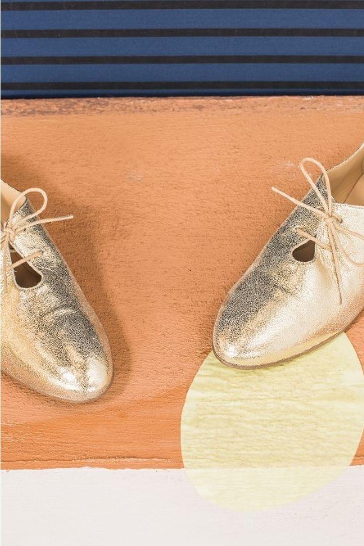 Chaussures noon dore 100% cuir naturel des petits hauts