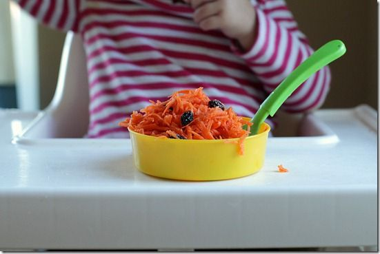 This one of for the kiddos: Shredded Carrot, orange juice and raisins!