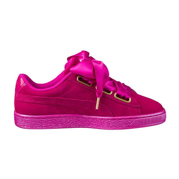 Puma Suede Heart Satin Women's Sneakers ($80) ❤ liked on Polyvore featuring shoes, sneakers, sport sneakers, grip trainer, metallic shoes, puma trainers and heart sneakers