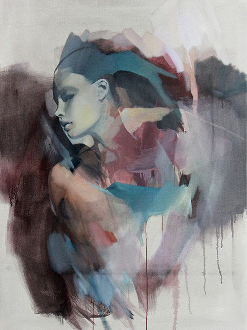 Rico Blanco {contemporary figurative #expressionist art beautiful female woman face profile abstract drips painting} <3 Inspiring !!