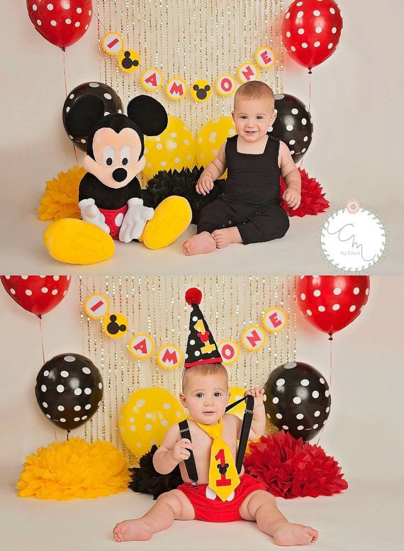 Mickey Mouse 1st Birthday Pom Poms Photo Shoot by SimplyNesting