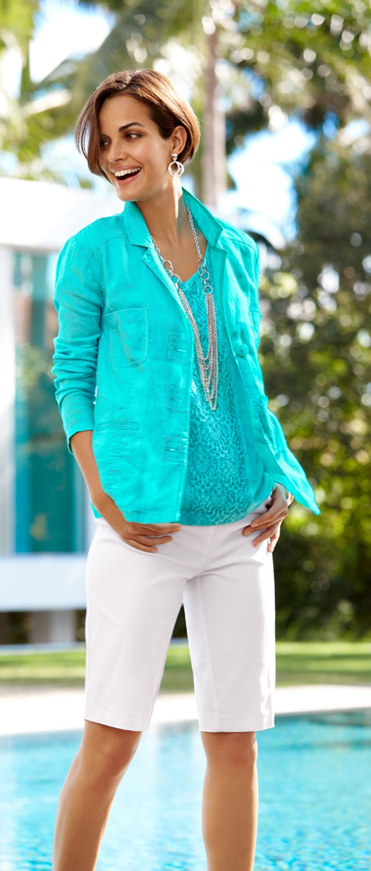 The Linen Safari Jacket over our Feminine Lace Tee.#chicos