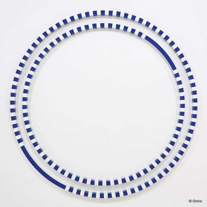 """Gerhard DOEHLER """"Sans titre (cercle 180 bleu)"""" - 2007 - acrylique sur aluminium - diametre 180 cm"""