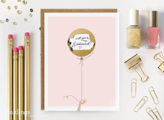 "Scratch-off ""Will You Be My Bridesmaid?"" Invitation // Gold Balloon by #InklingsPaperie on #Etsy   Write your message, cover it with the sticker, and send! So cute."