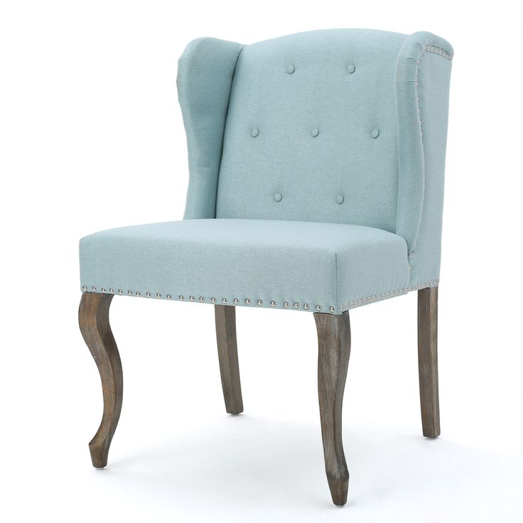 Prato Fabric Accent Chair Blue: Asheville Modern Fabric Wingback Chair