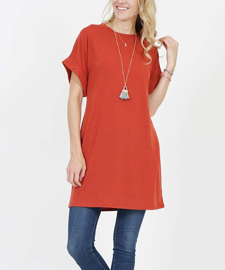 ff21084ea07 Rust Roll-Cuff Tie-Waist Two-Pocket Tunic - Plus #notch#versatile#tunic