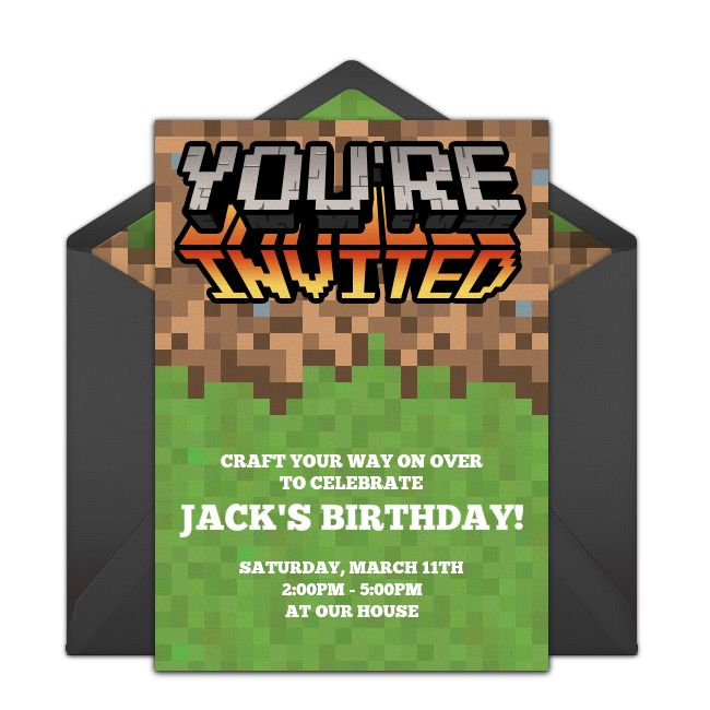 A great free birthday party invitation featuring a Minecraft inspired design. We love this for inviting friends to a fun Minecraft birthday party.