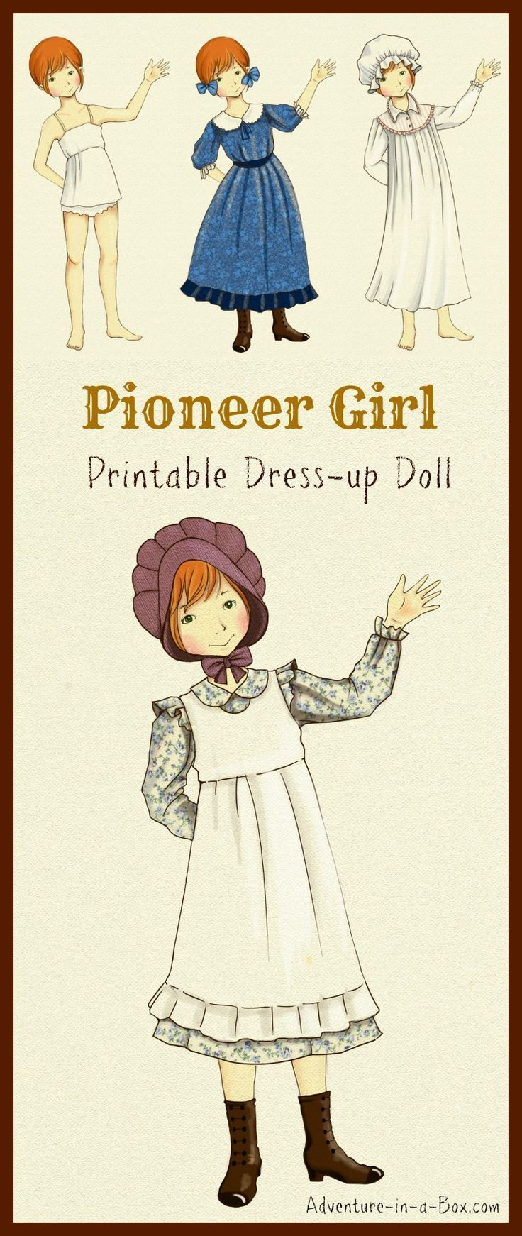 Printable Pioneer Dress-Up Doll: Print and cut this free design to create your…