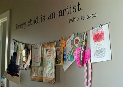 What a great idea for a children's art work display.  Love the quote.Kid Art, Kids Room, Cute Ideas, Display Art, Art Display, Child Art, Kids Artworks, Pablo Picasso, Art Wall