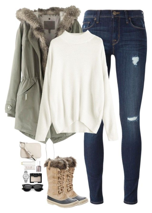 """""""Sorel boots, parka & cream sweater"""" by steffiestaffie on Polyvore featuring Hudson, Wrap, SOREL, Essie, NARS Cosmetics, Therapy, Ingersoll and Alexander Wang"""