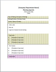 Formal meeting agenda template at word-documents.com