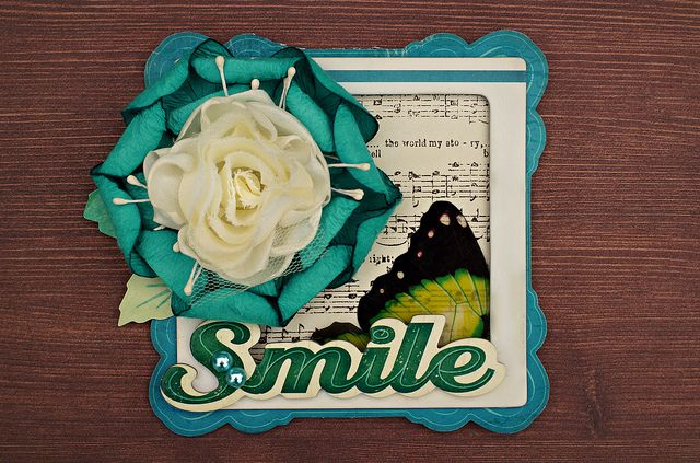 Embellishing with a large, layered floral on a Crate Paper card