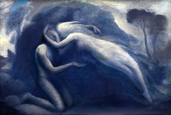 """Claude Buck (1890 – 1974)  The Kiss """"Pode-se prometer ações, mas não sentimentos, pois estes são involuntários. Quem promete a alguém amá-lo sempre, ou odiá-lo sempre, ou ser-lhe sempre fiel, promete algo que não está em seu poder; mas o que pode perfeitamente prometer são aquelas ações que, na verdade, são geralmente as consequências do amor, do ódio, da fidelidade, mas que também podem emanar de outras razões, pois a uma ação conduzem diversos caminhos e motivos. A promessa de amar sempre"""