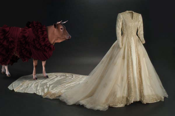 vestido de chantilly y encaje de Bruselas del siglo XVIII