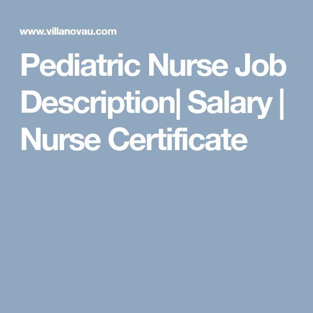 pediatric nurse job description