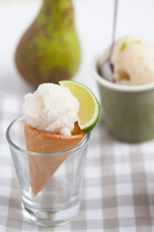 Pear Sorbet with Mint and Lime