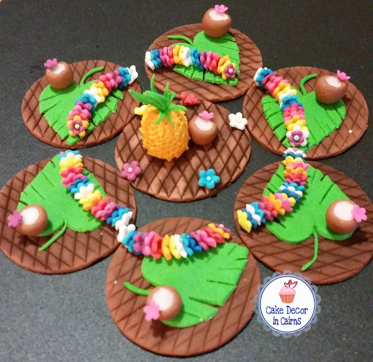 Luau Tiki Themed Cupcake Toppers