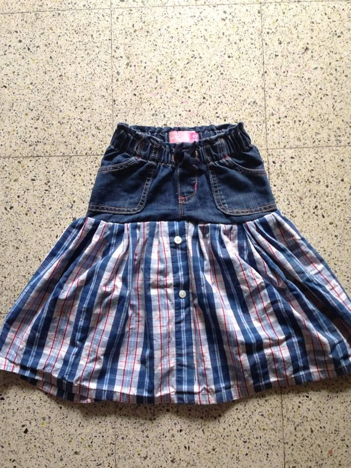 Skirt from outgrown jeans and old shirt https://crazycookup.wordpress.com/2015/06/18/no-hem-easy-skirt-from-jeans-and-shirt/