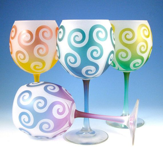 Spiral Waves Wine Glasses - Painted and Etched Glassware - Custom Glass Stemware