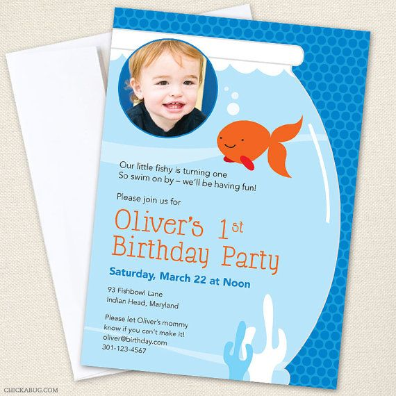 Best OFISHALLY ONE Images On Pinterest Parties Candies - Goldfish birthday invitation