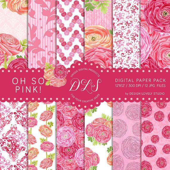 Digital Paper Pack, Floral Digital Paper, Floral Pattern, Pink Digital Paper, Ranunculus Floral Background, Romantic Wedding, Nursery Scrapbook Instant Download