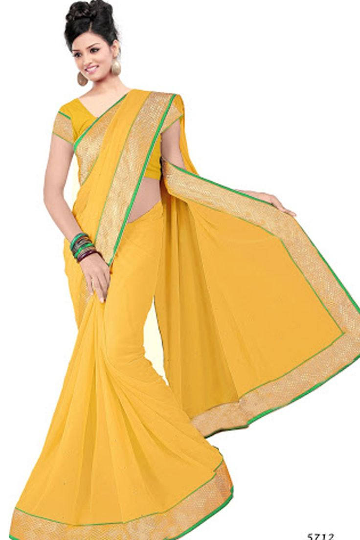 Yellow Chiffon Casual Saree With UnStitch Blouse