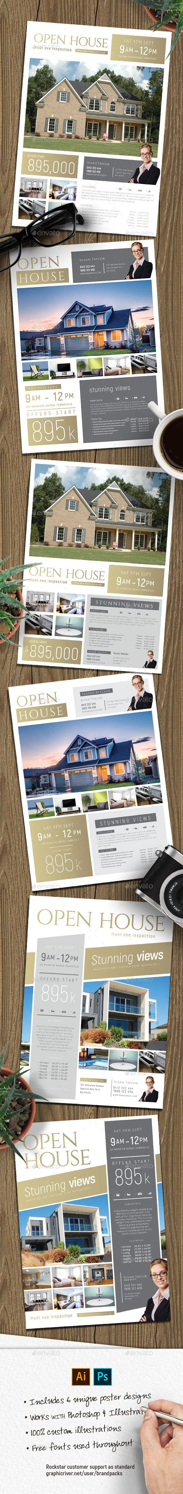 Open #House Poster Templates - Corporate #Flyers