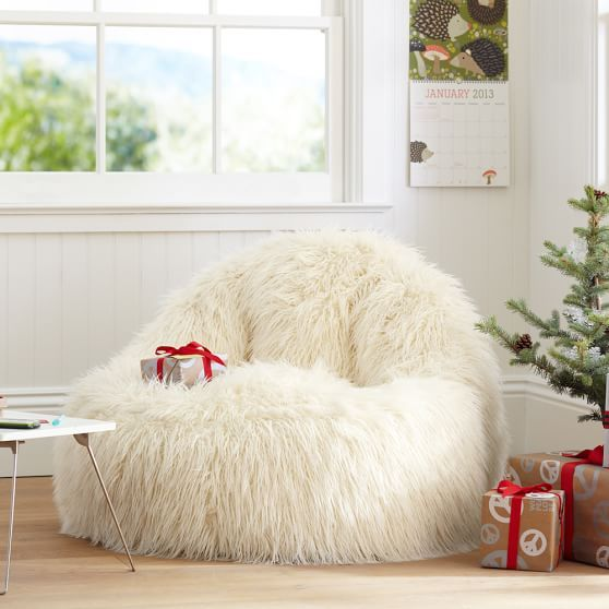 Monster High Bean Bag Chair Kids Table And Chairs Target Ivory Furlicious Faux-fur Leanback Lounger | College Pinterest Room, Dorm Room ...