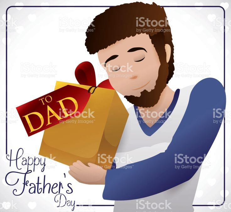 Young Bearded Dad Holding his Special Gift for Father's Day