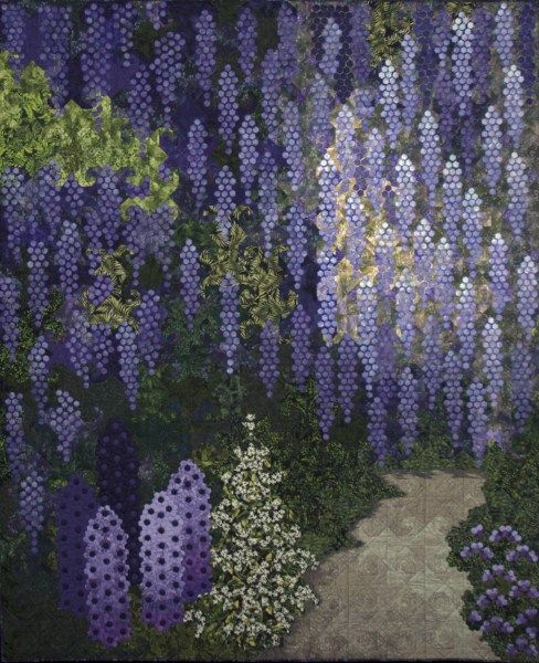 "Ans Schipper-Vermeiren  ""Blauwe regen (Wisteria)  Haaften, The Netherlands.  Made with hexies"