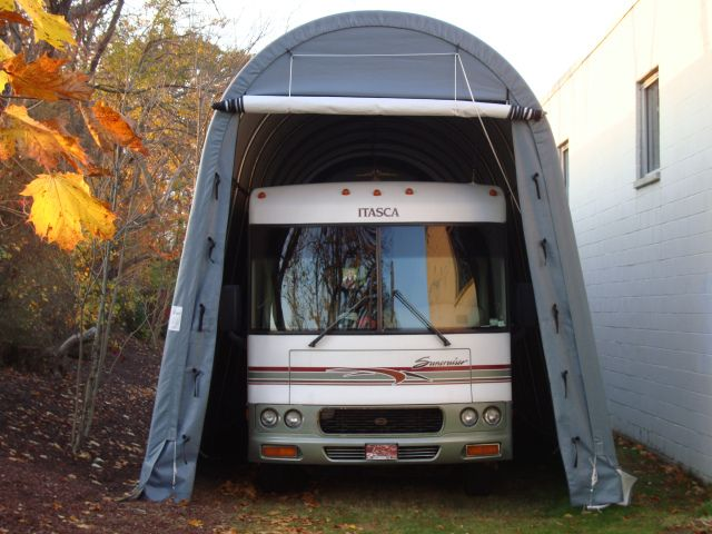 9 best rv buildings shelters images on pinterest for Portable rv garage