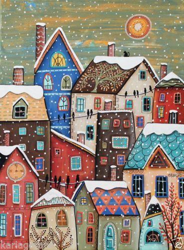 Snowfall Canvas Painting 18x24inch Folk Art Original Houses Cat Birds Karla G