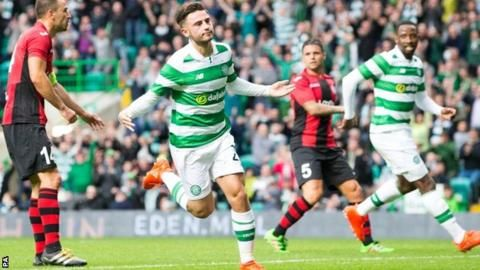 July 21 2016 - Patrick Roberts celebrates scoring Celtic's first goal as they cruised past Gibraltarian part-timers Lincoln Red Imps to book a Champions League third qualifying round tie with Astana of Kazakhstan
