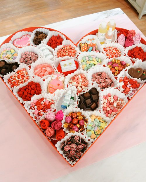 Good packaging idea for any type of box. Line with cupcake wrappers and fill with assorted goodies.