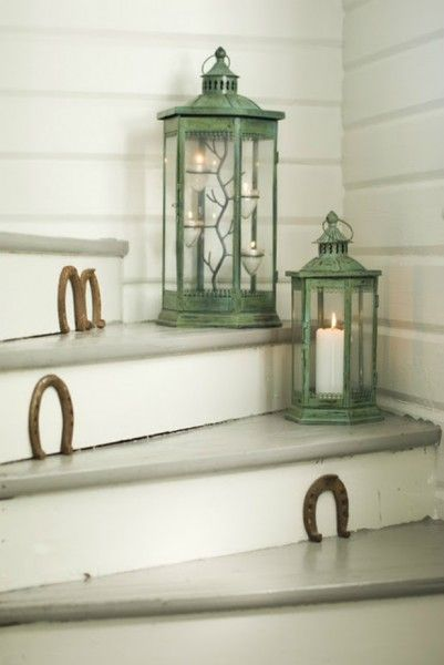 Nail horseshoes on the risers of your steps. Equestrian chic! Be sure to place the horseshoes with opening at the top like a U to keep the luck inside.