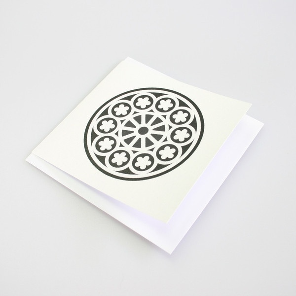 A card with the Rose Window design. It is inspired from the earthquake damaged Christchurch Cathedral.