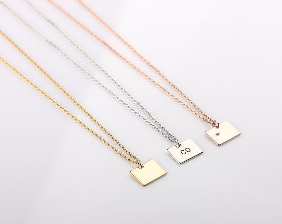 Home State Jewelry  Dainty Colorado Necklace  Small Colorado