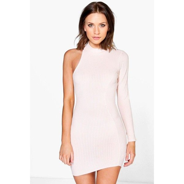 Boohoo Petite Petite Talia One Sleeve High Neck Dress ($26) ❤ liked on Polyvore featuring dresses, nude, pink bodycon dress, sequin dress, pink maxi dress, sequin party dresses and pink tuxedo