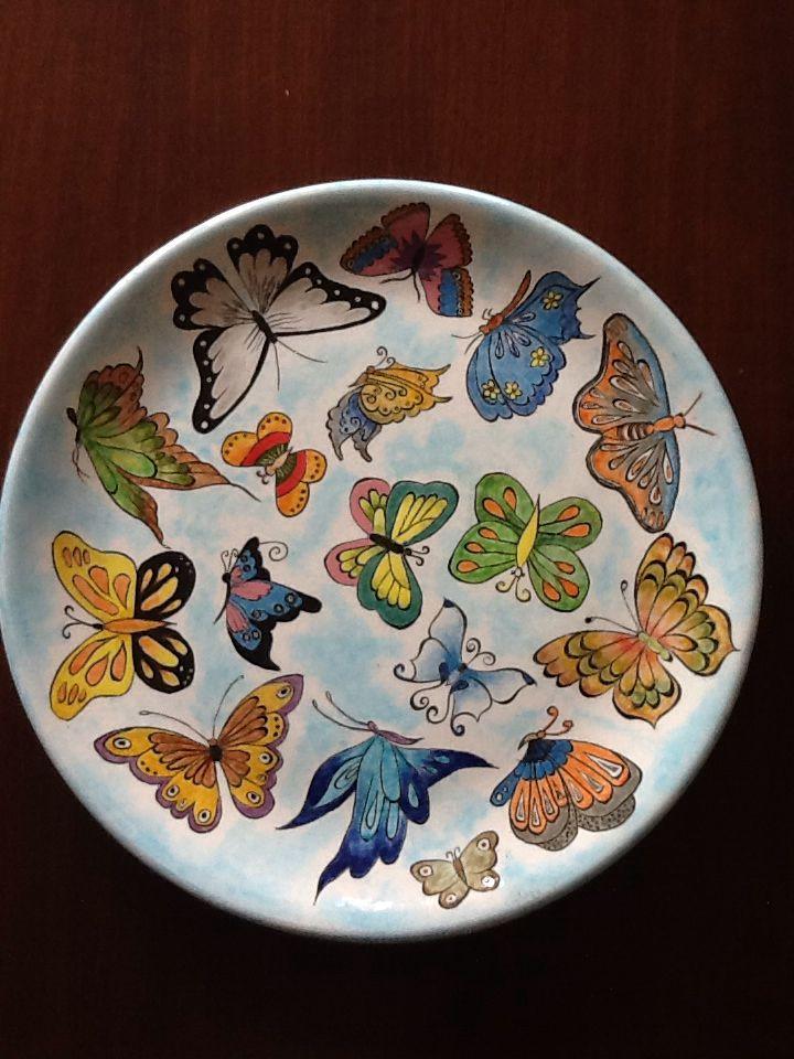 Kendi yaptığım kelebekli tabak
